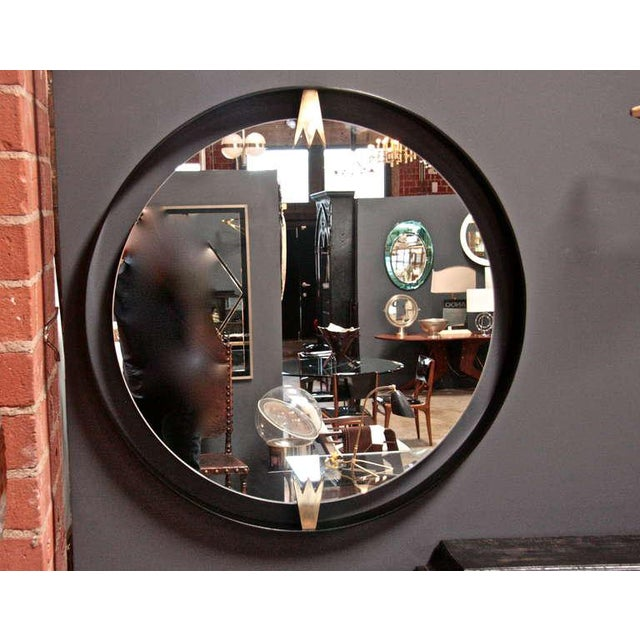 Iron and Brass Moderne Mirror For Sale - Image 5 of 6