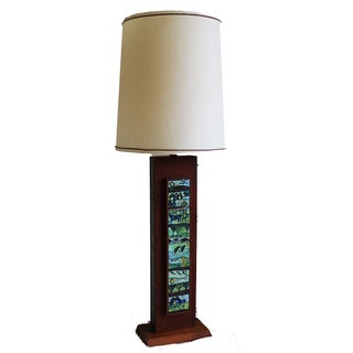 Mid Century Wooden Rectangular Table Lamp For Sale
