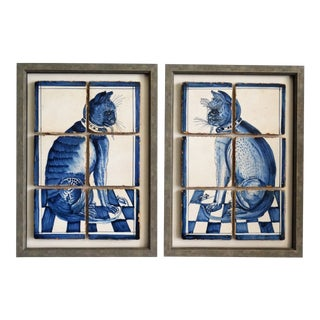 Antique Dutch Delft Framed Cat Tile Plaques, Set of 2 For Sale