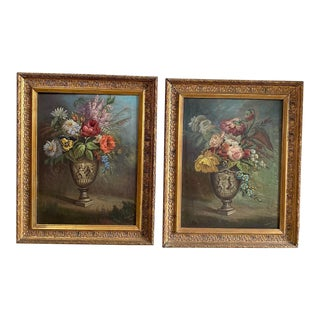 1920s Floral Still Life Oil Paintings, Framed - a Pair For Sale