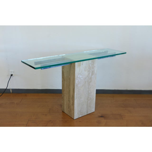 Vintage Travertine Console Table For Sale - Image 4 of 8