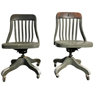 Early 1920s Shaw Walker Industrial All Aluminium Task Chairs - A Pair For Sale