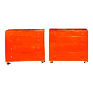 Wide Blood Orange Solid Wood Four Drawers & Casters Side Table / End Table - a Pair For Sale