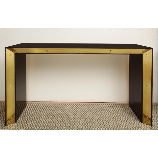 Not Yet Made - Made To Order Brown Lacquered Console with Brass Accents For Sale - Image 5 of 9