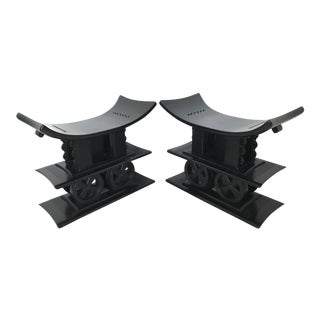 Royal Ashanti Ebonised Benches, Stools