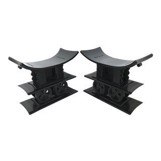 Royal Ashanti Ebonised Benches, Stools