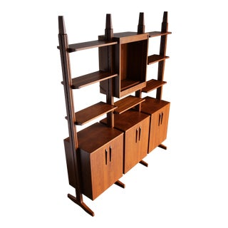 William Ketelle Handcrafted Freestanding Wall Unit, 1971 For Sale