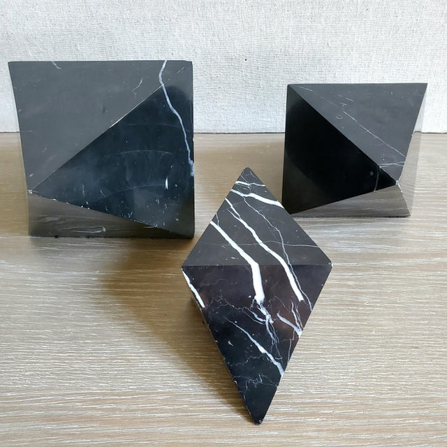 Geometric Octahedron Marble Sculptures - Set of 3 For Sale - Image 4 of 12