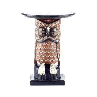 Wood Owl Side Table For Sale