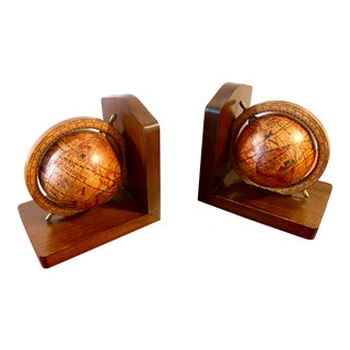 Italian Wood and Decoupage Globe Bookends For Sale