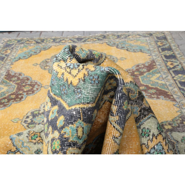 Amber 1960's Vintage Turkish Hand-Knotted Wide Long Runner-4′7″ × 12′10″ For Sale - Image 8 of 11