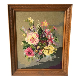 1970s Cottage Framed Floral Needlepoint Textile Art