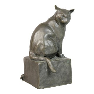Bronze Figure of a Cat by e.m. Leary Strazzula For Sale