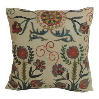Vintage Floral Suzani Embroidery Silk Decorative Pillow