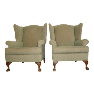 Antique Chippendale Wingback Chairs - a Pair
