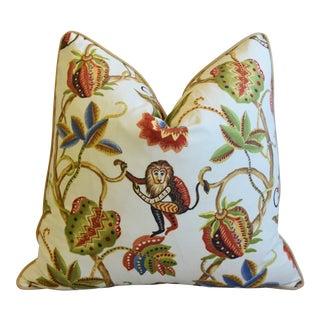 """P. Kaufmann Bazaar Paradise Monkey Feather/Down Pillow 24"""" Square For Sale"""