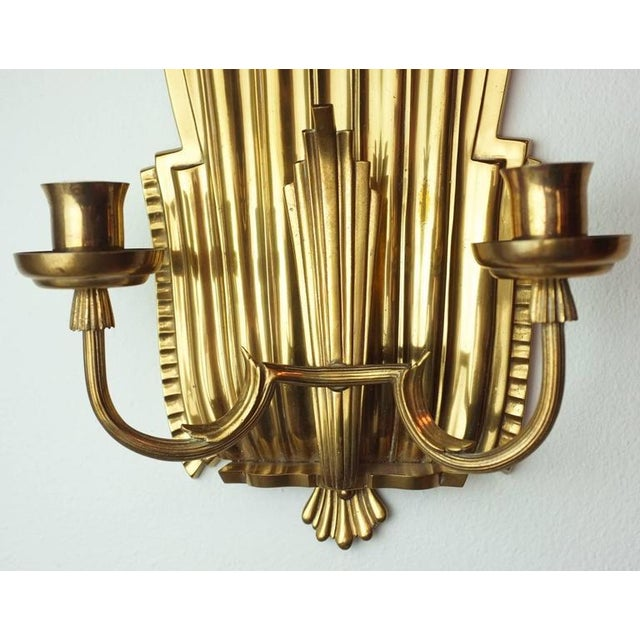 Swedish Grace Brass Sconces - A Pair - Image 6 of 6