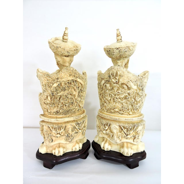 Vintage Chinese Faux Ivory Emperor and Empress Statues or Figures - a Pair, With Stands For Sale In Tampa - Image 6 of 11