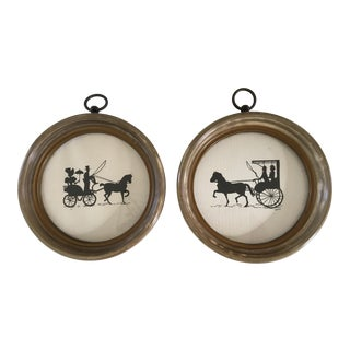 Mid Century Horse Drawn Carriage Silhouettes - a Pair For Sale