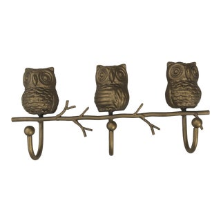 Mid Century Bohemian Brass Owl Wall Rack For Sale