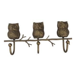 Mid Century Bohemian Brass Owl Wall Rack