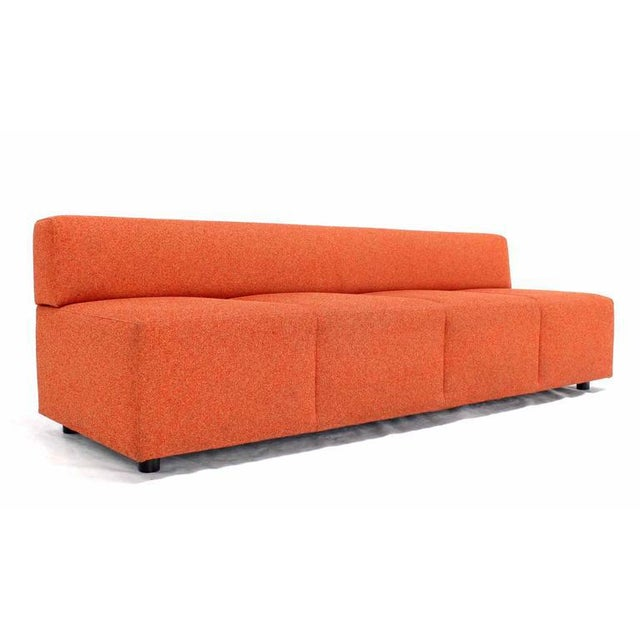 Mid-Century Modern Orange Upholstery Steelcase Sofa Booth