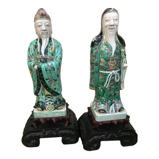 19th Century Chinese Qing Dynasty Porcelain Immortals - a Pair For Sale
