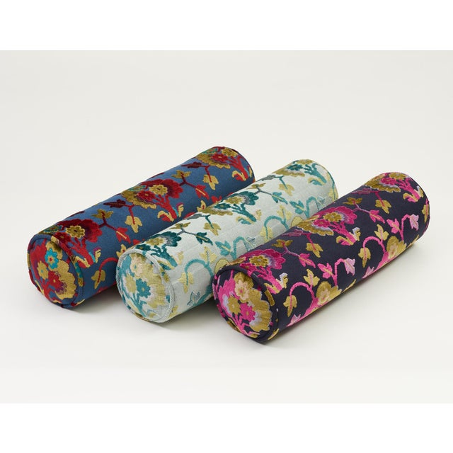 Contemporary Schumacher Jennie Velvet Bolster Pillow in Blue & Red For Sale - Image 3 of 9