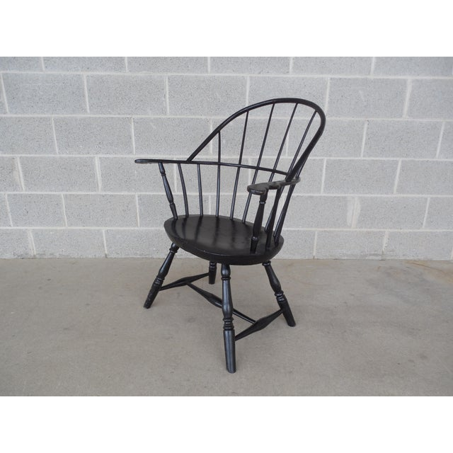This antique windsor or side chair features quality antique solid construction and was more recently painted black. Approx...