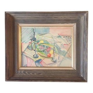 Vintage Original Modernist Cubist Still Life Painting For Sale