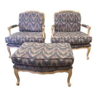 Flexsteel Louis XV Bergere Chairs With Ottoman - 3 Pieces For Sale
