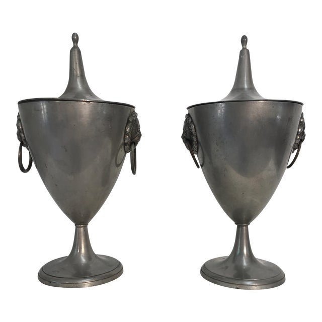 19th C. English Pewter Urns - A Pair - Image 1 of 9