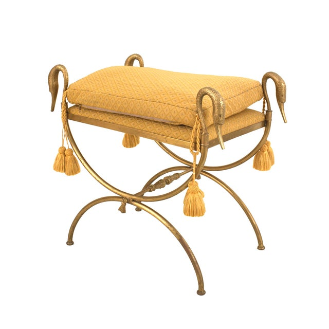 Jansen Furniture Jansen French 1940s Directoire Style Gilt Bronze Bench For Sale - Image 4 of 4