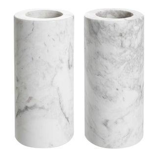 White Marble Tealight Holders 2 | Eichholtz Tobor L For Sale