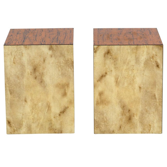 Mid-Century Modern Copper Top Cube Side Tables, a Pair For Sale - Image 3 of 7