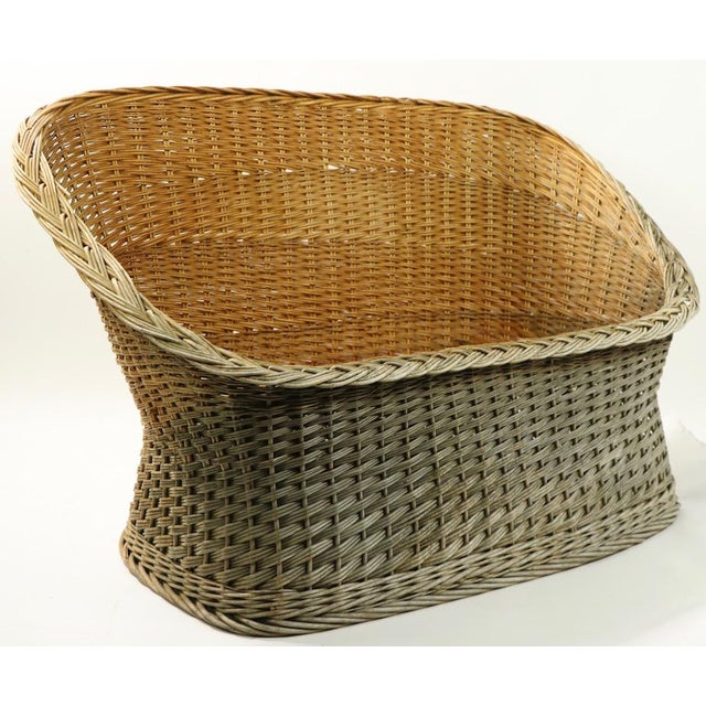 Mod Bar Harbor Style Woven Wicker Settee For Sale - Image 9 of 13
