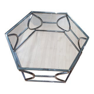 Contemporary Bernhardt Metal and Glass Hexagonal Cocktail Table