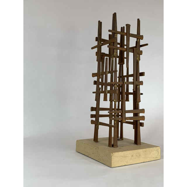 Abstract Abstract Steel Nail Sculpture by David Grossman For Sale - Image 3 of 8