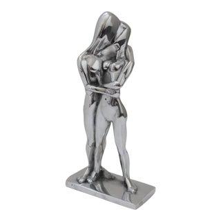 """Vintage Christian Petersen """"Lovers"""" Sculpture Cast Aluminum For Sale"""