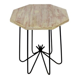 Mid-Century Modern Cerused Oak Iron Pedestal Side End Table Royere Style For Sale