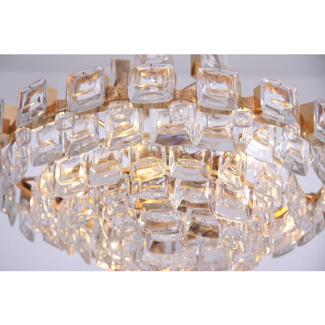Mid-Century Modern Glamorous Palwa Gilded Brass and Glass Jewel Chandelier For Sale - Image 3 of 8