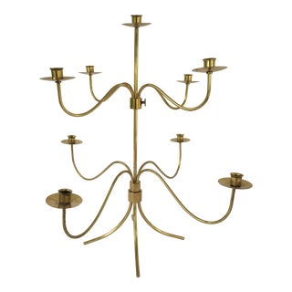 Vintage Mid Century Josef Frank Brass 9-Arm Candle Holder For Sale