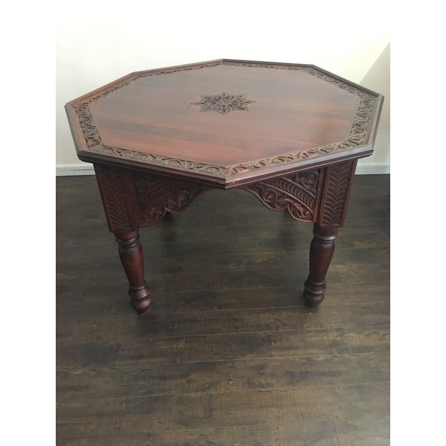 Hexagonal Carved Wood Moroccan Table - Image 3 of 9