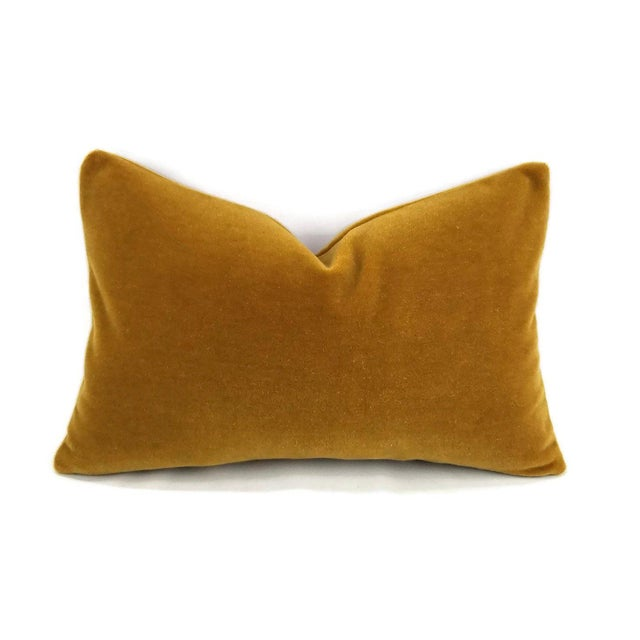 S. Harris Ankara Mohair Amber Velvet Lumbar Pillow Cover For Sale In Portland, OR - Image 6 of 6
