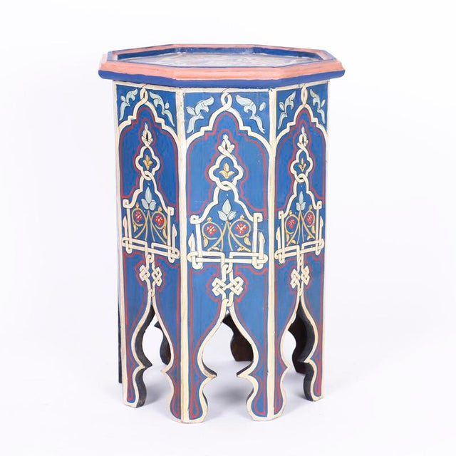 Moroccan Antique Moorish Painted Stands - a Pair For Sale - Image 3 of 10