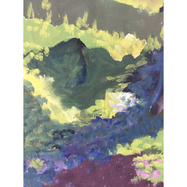 1960s Figurative Gouache Park Scene Painting Mid Century For Sale - Image 4 of 5