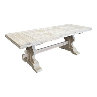 French Bleached Pine Trestle Table For Sale