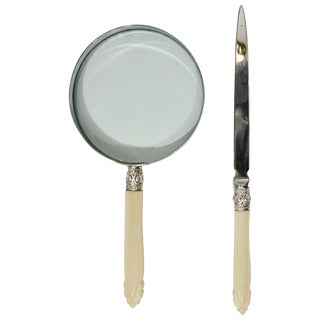 1970s English Magnifying Glass and Letter Opener Desk Set With Horn Handles - a Pair For Sale