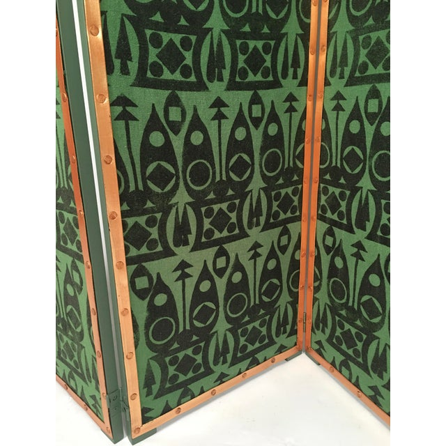 Hand Block Printed Black and Green Fabric Four Panel Screen For Sale In Boston - Image 6 of 11