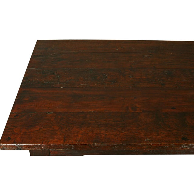 Solid Oak with Teak Country Style Dining Table - Image 6 of 8